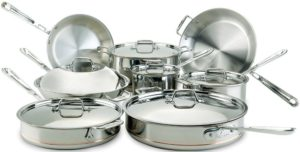 best professional cookware sets - All-Clad 60090 Copper Core 5-Ply Bonded Dishwasher Safe Cookware Set, 14-Piece, Silver