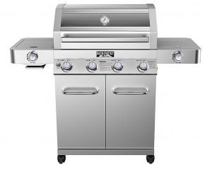 Best Gas Grills For the Money - Monument Grills 4-Burner Propane Gas Grill,Stainless,ClearView Lid,LED Controls,Side & Sear
